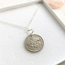 Load image into Gallery viewer, 1953-1967 Lucky Sixpence Necklace- Sterling Silver Heart Necklace