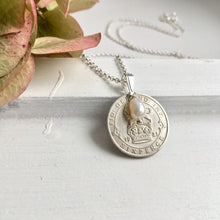 Load image into Gallery viewer, Silver Sixpence Prendant Necklace