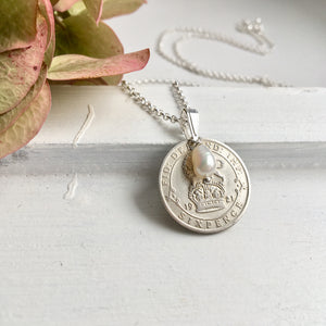 Silver Sixpence Prendant Necklace