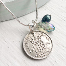 Load image into Gallery viewer, 1948 Sixpence Necklace - Crystal and Pearl