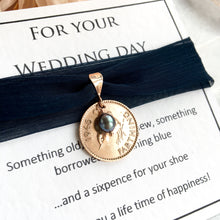 Load image into Gallery viewer, Something Old, New, Borrowed and Navy Blue Farthing Bridal Charm