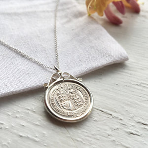 1887 Queen Victoria Sixpence Scroll Necklace - Sterling Silver