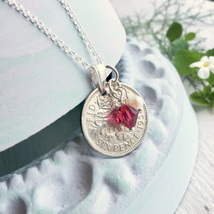 1953 to 1967 Sixpence Birthstone Pendant - Rolo Chain