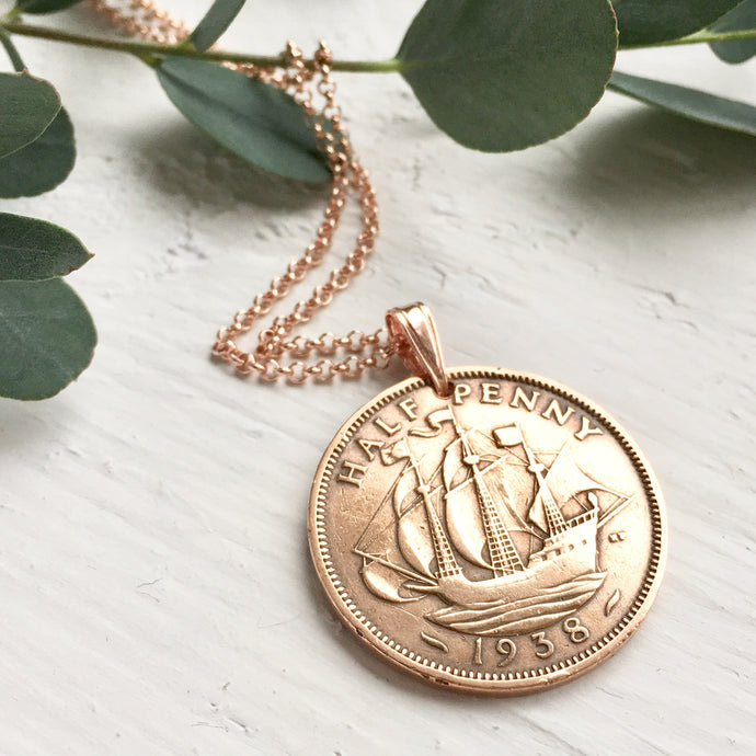Half Penny Coin Necklace