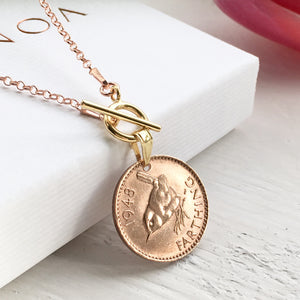 1951 Farthing Necklace - Gold Toggle Necklace