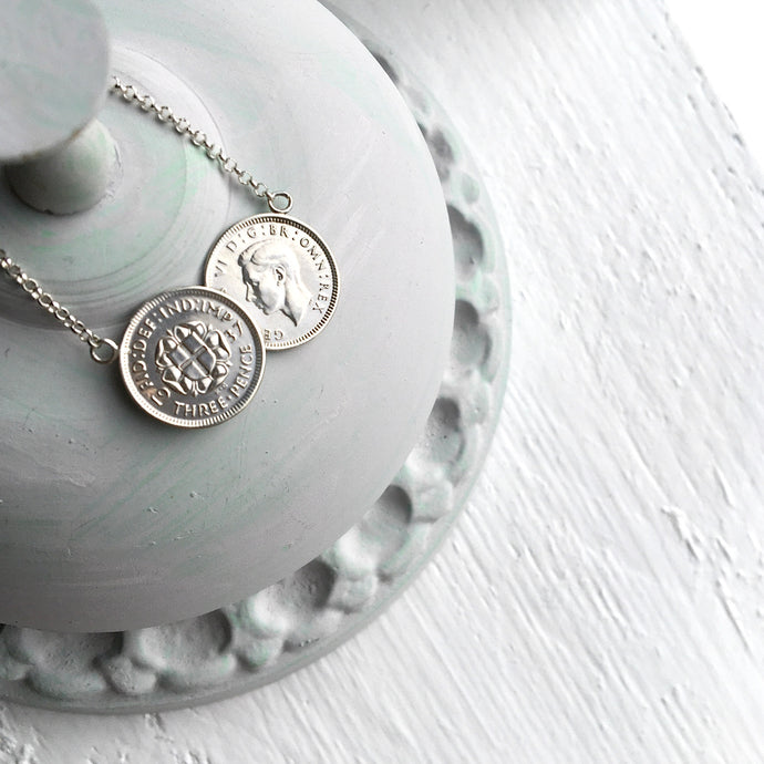 Double Roses Threepence Necklace - Silver