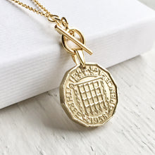 Load image into Gallery viewer, 1953-1967 Threepence Necklace - Gold Toggle Coin Necklace