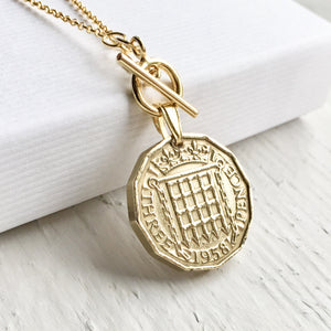 1953-1967 Threepence Necklace - Gold Toggle Coin Necklace