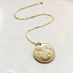 1991 French Coin Necklace Pendant - Medium