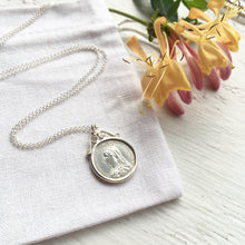 Load image into Gallery viewer, 1887 Queen Victoria Sixpence Scroll Necklace - Sterling Silver