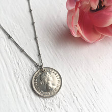 Load image into Gallery viewer, Satellite Sixpence Necklace - 1953-1967 - Steel