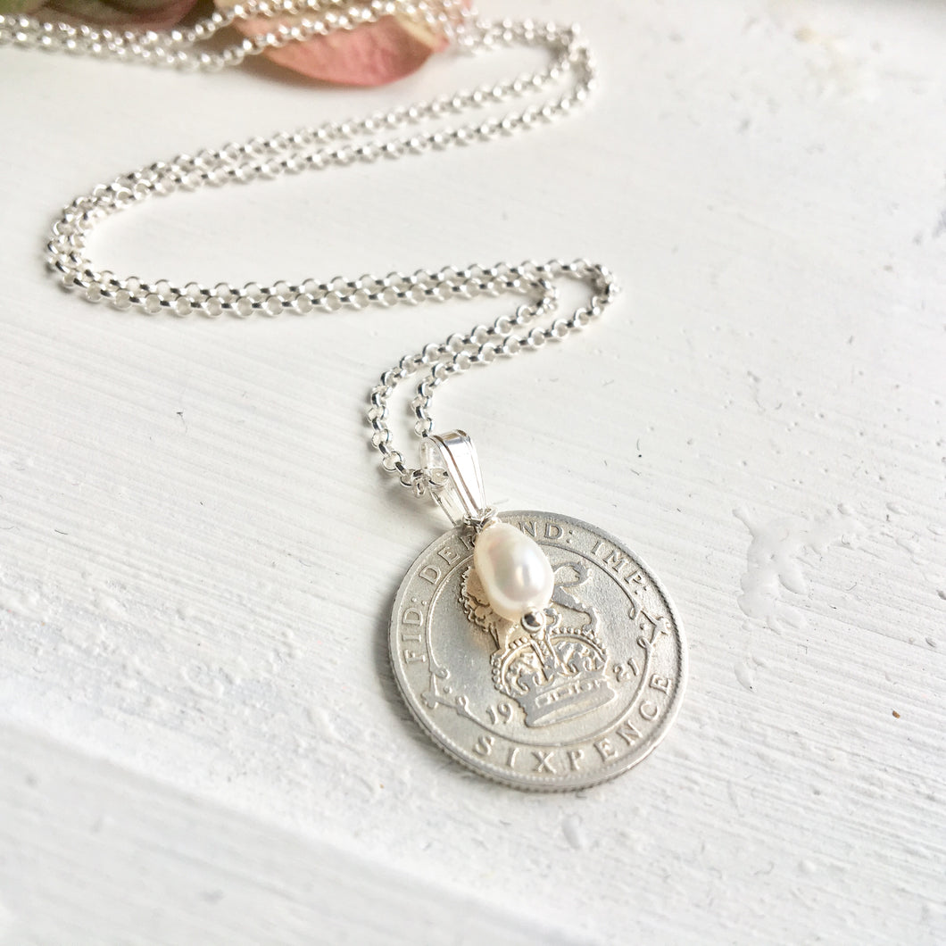 Old Silver Sixpence Necklace