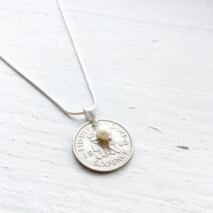 1948 Sixpence Necklace - Crystal and Pearl