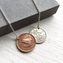 Load image into Gallery viewer, British Double Coin Necklace - Farthing and Lucky Sixpence