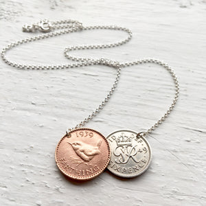 British Double Coin Necklace - Farthing and Lucky Sixpence