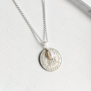 Silver Sixpence Necklace