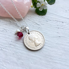 Load image into Gallery viewer, 1953 to 1967 Sixpence Birthstone Pendant - Rolo Chain