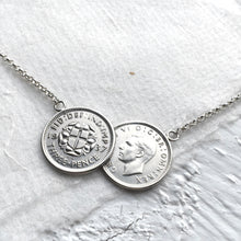 Load image into Gallery viewer, Double Roses Threepence Necklace - Silver