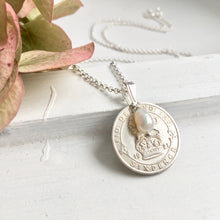 Load image into Gallery viewer, Silver sixpence necklace