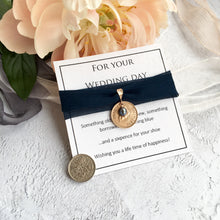 Load image into Gallery viewer, https://prenoa.co.uk/shop/something-old-new-borrowed-and-navy-blue-farthing-bridal-charm/