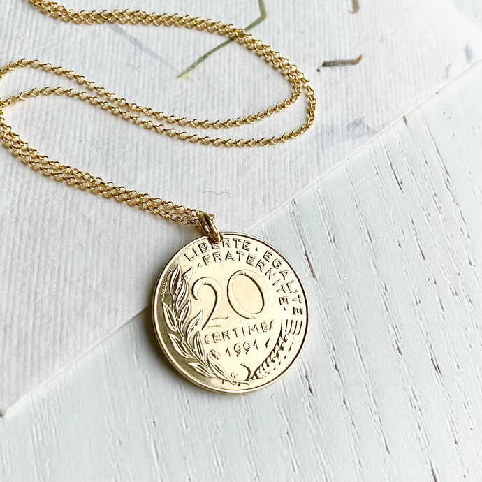 1991 French Coin Necklace Pendant - Large