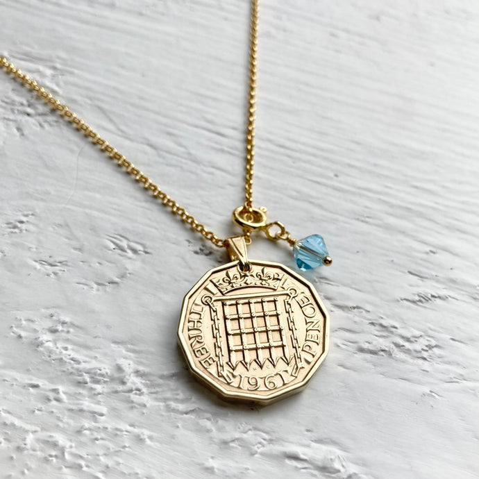 1961 Portcullis Necklace - March Birthstone