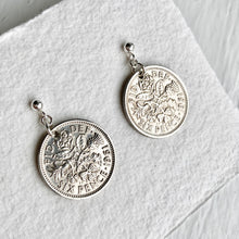 Load image into Gallery viewer, 1961 Sixpence Silver Earrings