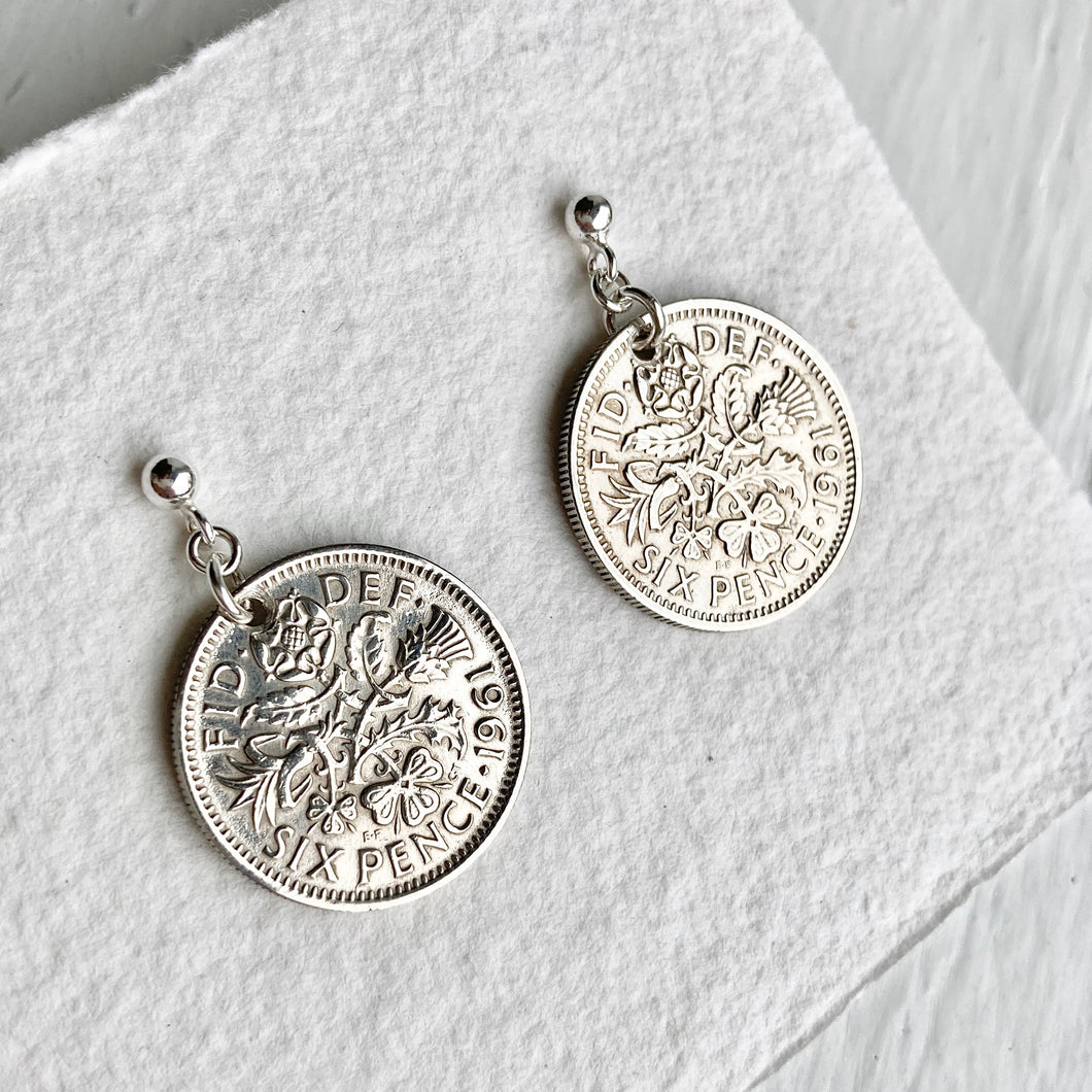 1961 Sixpence Silver Earrings