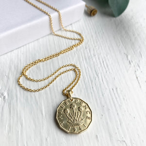 1941 Threepence - Gold Coin Necklace