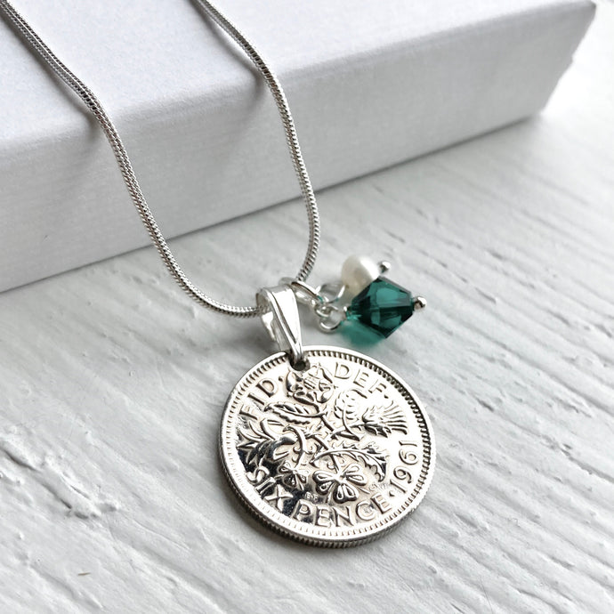1961 Sixpence Necklace - Birthstone Edition