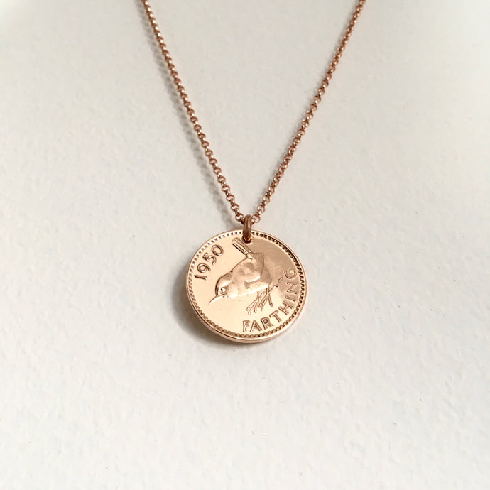 Rose Gold and Wren Necklace