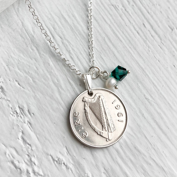 1961 Irish Sixpence Pendant- Birthstone