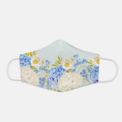 Ear Loop Blue Floral Fabric Face Mask - The Creative Gift Shop
