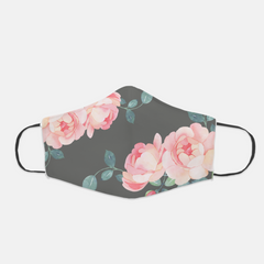 Ear Loop Grey & Pink Floral Fabric Face Mask - The Creative Gift Shop
