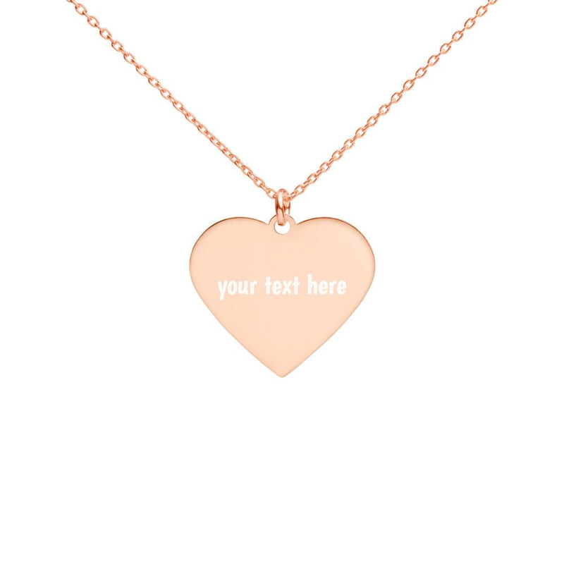 Personalized | Rose Gold | Engraved Silver Heart Necklace - The Creative Gift Shop
