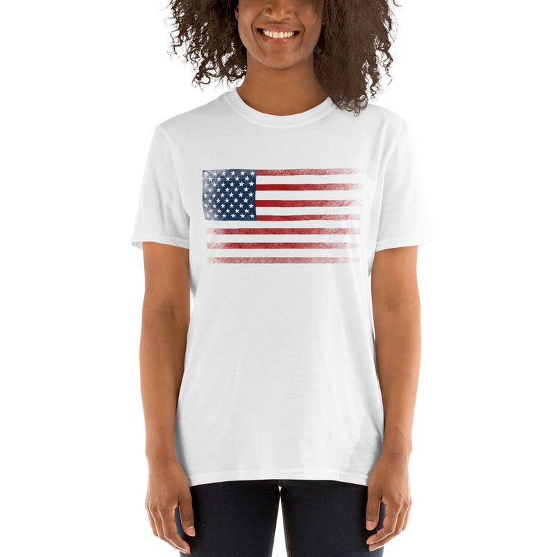 American Flag T-Shirt | Black White & Grey | Memorial Day | Short-Sleeve Unisex - The Creative Gift Shop