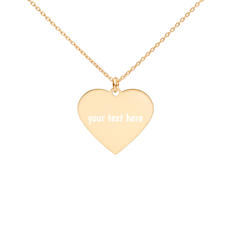 Personalized | Gold | Engraved Silver Heart Necklace - The Creative Gift Shop
