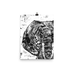 B&W Elephant Painting Poster - The Creative Gift Shop