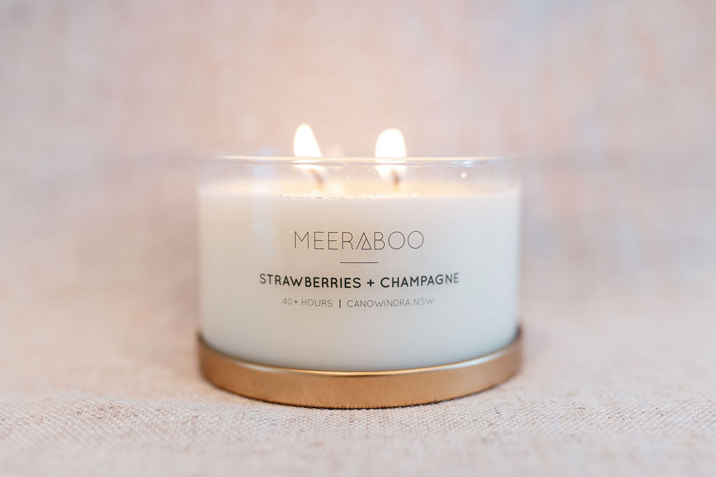 Strawberries + Champagne Gold Lid Soy Candle