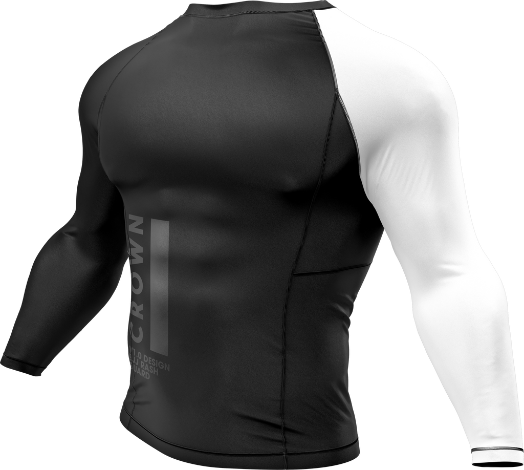 Finalized prototype of the V1.0 long sleeve rash guard, but with black stitching.