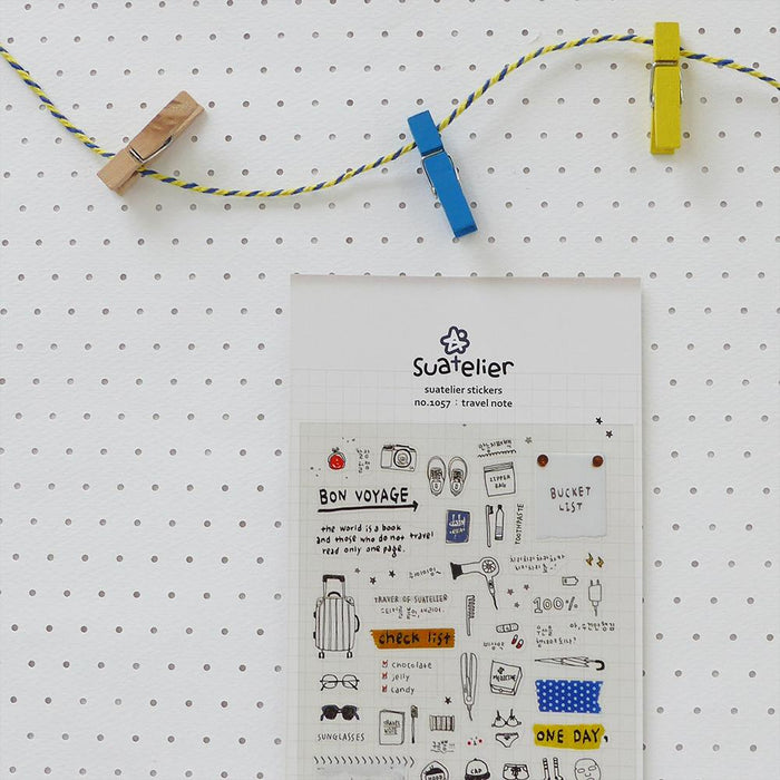 Suatelier | Travel Note Sticker Sheet | Script + Sea