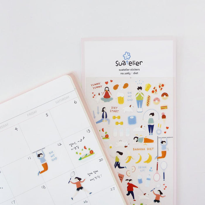 Suatelier | Diet Sticker Sheet | Script + Sea