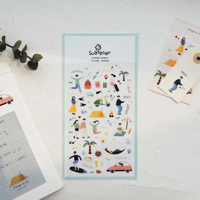 Suatelier | Healing Sticker Sheet | Script + Sea