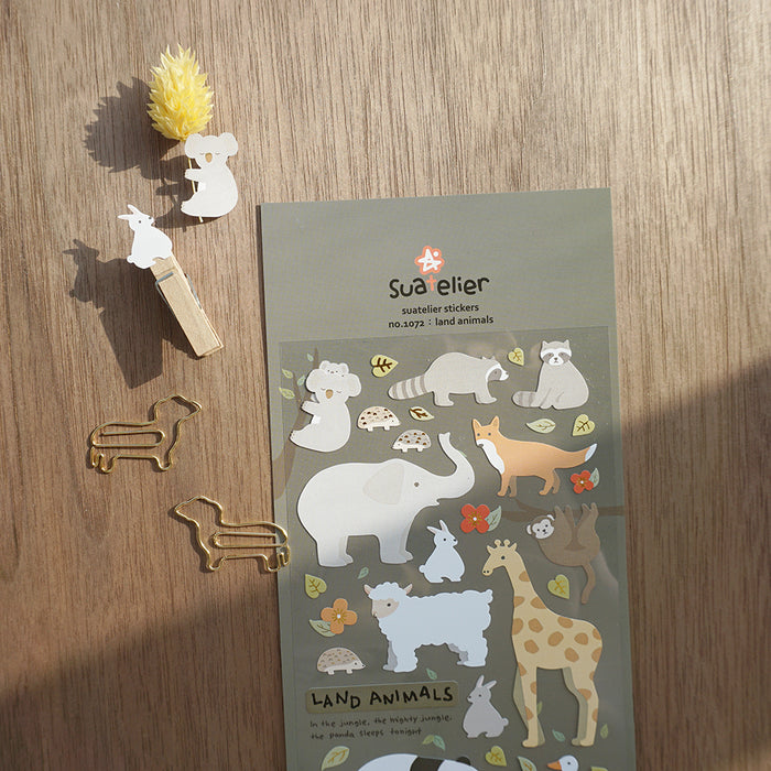 Suatelier | Land Animals Sticker Sheet | Script + Sea