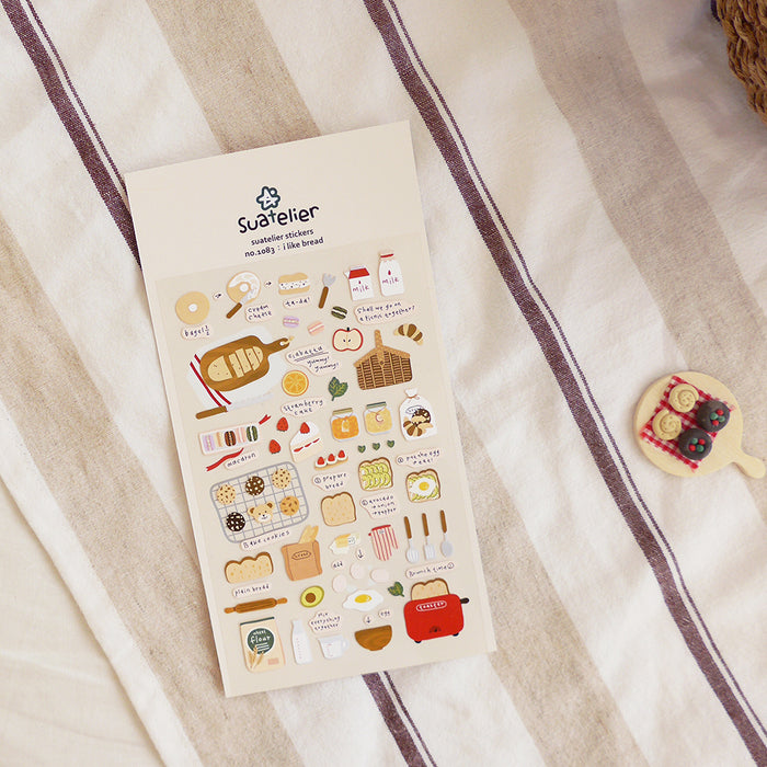 Suatelier | I Like Bread Sticker Sheet | Script + Sea