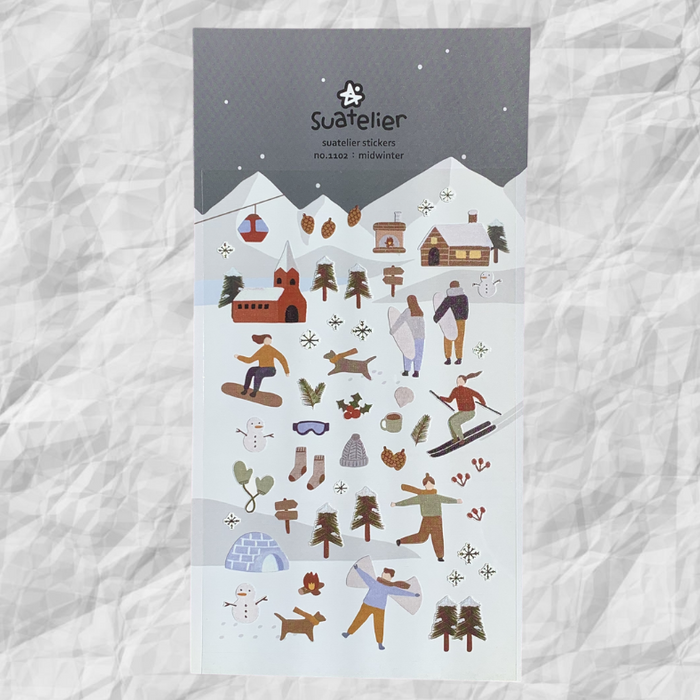 Suatelier Midwinter Sticker Sheet from Script + Sea featuring stickers of people skiing, snowboarding, and making snow angels.