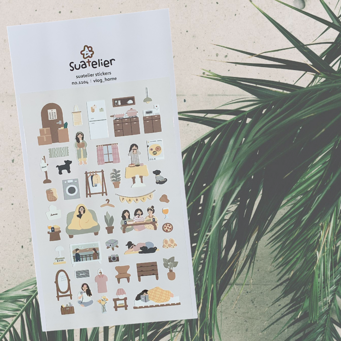 Suatelier Vlog_home Sticker Sheet from Script + Sea featuring people doing home chores on a background with a big leaf.