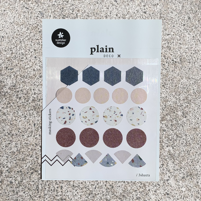 Suatelier Plain 33 Sticker Sheet from Script + Sea featuring 5 lines of different colored shapes including circles, triangles, and hexagons.