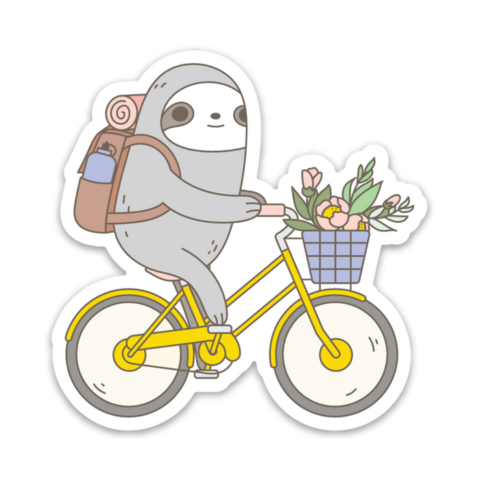 Noristudio | Biking Sloth Vinyl Die-Cut Sticker | Script + Sea