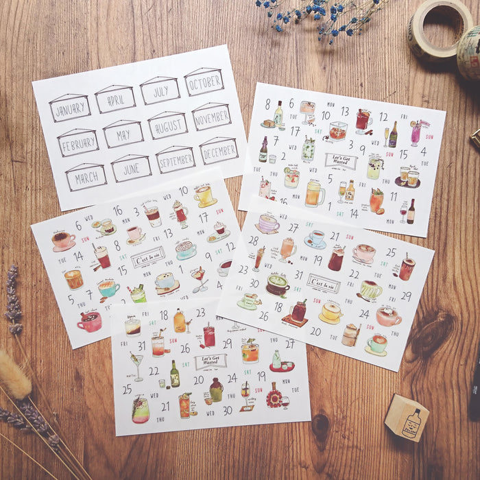 Dimanche | Drinks Calendar Print-On Stickers | Script + Sea